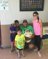 The Montez family reunites with their dog Corky, and meets his friend Captain, after almost 7 years. (Humane Society of North Texas)