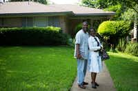 Roddie Thomas (left), and Patrice Thomas, both of Kiestwood poses for a portrait in front of their residence in the Kiestwood neighborhoodon June 11, 2016 in Dallas. (Ting Shen/The Dallas Morning News)(Staff Photographer)