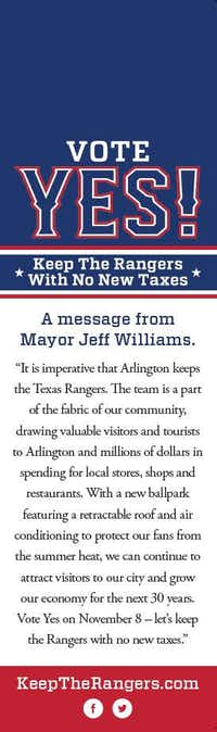 This pro-stadium flier, backed by a group formed by Mayor Jeff Williams, has turned up in several Arlington neighborhoods.(Photo courtesy of Brian Mayes)