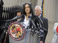 """In happier times: On May 1, 2015, Baltimore State's Attorney Marilyn Mosby told a restive city that a """"comprehensive, thorough and independent investigation"""" gave her the probable cause she needed to file criminal charges against six police officers in Freddie Gray's death.(Lloyd Fox/The Baltimore Sun)"""
