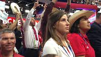 Rachel Chupik (left) and Laura Koerner watched as Texas Republicans cast votes for Donald Trump during the Republican National Convention last week. The women were both delegates for Sen. Ted Cruz. (Katie Leslie/Staff)