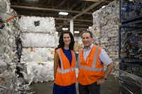 Texas Recycling vice president of sales Kathy DeLano (left), and president and co-owner Joel Litman poses for a portrait in the Texas Recycling plant on July 27, 2016 in Dallas. (Ting Shen/The Dallas Morning News)(Staff Photographer)
