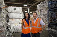 Texas Recycling vice president of sales Kathy DeLano (left), and president and co-owner Joel Litman poses for a portrait in the Texas Recycling plant on July 27, 2016 in Dallas. (Ting Shen/The Dallas Morning News)Staff Photographer