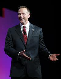 Texas Railroad Commissioner Ryan Sitton speaks to the crowd during the 2016 Texas Republican Convention at the Kay Bailey Hutchison Convention Center in Dallas, on May 14, 2016.(Vernon Bryant/The Dallas Morning News)