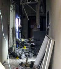 This is the remote-controlled robot that two officers used to detonate a brick of C-4 explosive that killed gunman Micah Johnson. The photo is of the scene inside the hallway at El Centro College, taken the morning after the July 7 shootings.(Special to The Dallas Morning News)