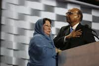 Khizr Khan stands with his wife Ghazala at the Democratic National Convention.(Damon Winter/The New York Times)