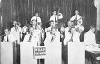 The Serenaders, a prison dance orchestra, performs on WBAP's Thirty Minutes Behind the Walls in 1943. The radio program shared prisoner stories as well as music as a form of rehabilitation for incarcerated individuals. (Texas Prison Museum)