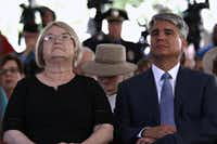 Claire Wilson James, a survivor of the tower shooting, and University of Texas at Austin President Greg Fenves attended the ceremony Monday marking 50 years since the rampage.(Joshua Guerra/The Daily Texan via AP)