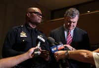 Dallas Police Chief David Brown and Mayor Mike Rawlings address the media at City following Thursday's shooting of 11 police officers in downtown Dallas, July 7, 2016. Four officers are confirmed dead as of 11:45pm Thursday.(Maria R. Olivas/Special Contributor)