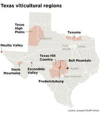 The eight Texas wine regions(Laurie Joseph/Staff Artist)