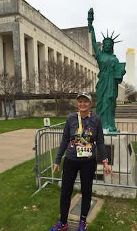 Terry Thornton, who meditates while she runs, is shown after the Hot Chocolate 15K race in Dallas earlier this year.(Special Contributor/Jim Richardson)