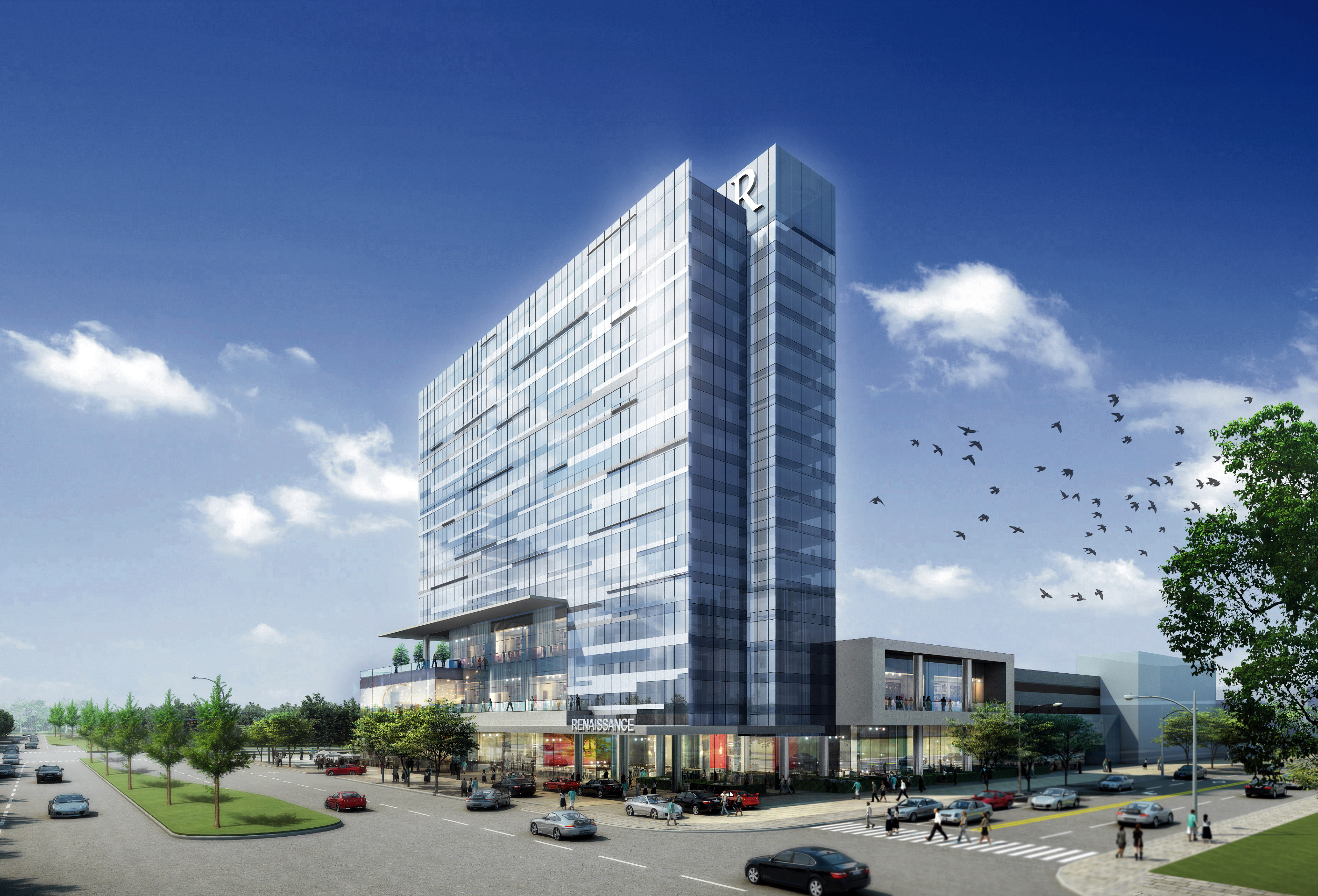 structure pleted for legacy west s 15 story renaissance hotel