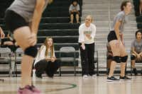 Lebanon Trail High School volleyball head coach Elize Swearengin (left) and assistant coach Peyton Hughes got a look at their freshman players during a scrimmage Friday against Colleyville Heritage High School. Both coaches are also teachers at the district's newest high school.