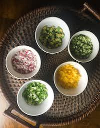 Gazpacho garnishes(Leslie Brenner/Staff)