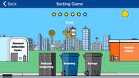 The sorting game inside the Dallas Sanitation Services app teaches users what materials are appropriate for backyard composting, recycling, garbage, or more.(Christine Schmidt)