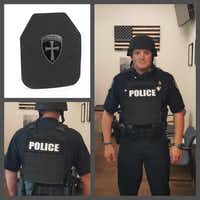 Frisco Police Officer Colby Hill models the new ballistic helmet and steel-plated vest coming for all sworn officer(Courtesy Frisco Police)