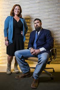 Robyn Payne is CEO of Boot Campaign, and Morgan Luttrell is a former Navy SEAL. Luttrell is a research scientist and is pursuing an advanced degree in cognitive neuroscience at UTD. He is the twin brother of Marcus Luttrell, a former Navy SEAL who created the Lone Survivor Foundation. (Ashley Landis/Staff Photographer)