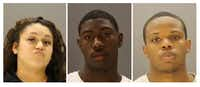 Kristian Rios, left, Royneco Harris and Cortney Woods. (Dallas Police Department)