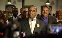 Dallas County Commissioner John Wiley Price after his election night victory on March 1.(Vernon Bryant /Staff Photographer)