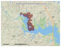 Earlier proposed gas drilling lease site at Lewisville Lake. It was removed from an April auction after it was discovered the property fell within several city limits. The approval of those cities would have been required.(Source: Center for Biological Diversity)