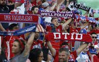 FC Dallas fans celebrate before a game at Toyota Stadium in May.(Nathan Hunsinger/Staff Photographer)