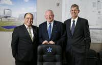 Frisco Mayor Maher Maso, Dallas Cowboys owner Jerry Jones and Frisco ISD Superintendent Jeremy Lyon gather in one of the conference rooms at the construction site at The Star in Frisco.(Vernon Bryant/Staff Photographer)