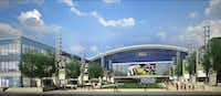 A rendering of the plaza in front of The Ford Center at The Star in Frisco.(Courtesy Gensler)