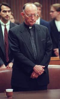The Rev. Charles Grahmann stood in court in July 1997 after the Catholic Church was found negligent in a case alleging molestation of boys by a priest.  In the largest verdict of its kind, the Roman Catholic Diocese of Dallas was ordered to pay nearly $120 million for allowing priest Rudy Kos to molest altar boys and then conspiring to cover it up.(FILE 1997/Staff Photo )