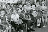 "<p>Ron Siebler, center, in rolled-up blue jeans, on his first day of school. He was in <span style=""font-size: 1em; line-height: 1.364; background-color: transparent;"">Mrs. Abercrombie's first grade class at Harrell Elementary School in Wichita Falls, Texas.</span></p>(Ron Siebler)"