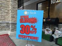 Sign showing the start of a going out-of-business sale are up at the Sun Fresh Market at 10203 E. Northwest Highway in Dallas.(Maria Halkias/Staff)