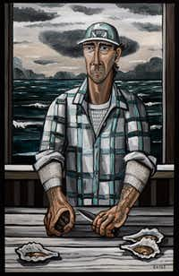 David Bates, <i>Oysterman, 2015, </i>oil on canvas,  84 x 53 inches(Kevin Todora/David Bates/Talley Dunn Gallery)