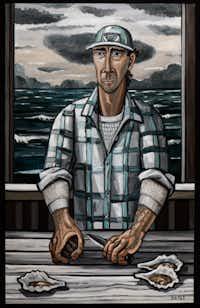 David Bates, <i>Oysterman, 2015,</i>oil on canvas, 84 x 53 inches(Kevin Todora/David Bates/Talley Dunn Gallery)