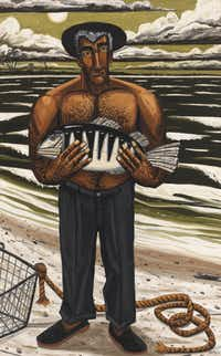 David Bates ( b. 1952).  <i>Night Fishing, 1987</i>.  Oil on canvas, 96 1/16   60 1/8in. (244   152.7 cm)  Whitney Museum of American Art, New York; gift of Laila and Thurston Twigg Smith  90.33  Courtesy of the artist and Arthur Roger Gallery Bates, David(Robert Gerhardt and Denis Y. Sus/Arthur Roger Gallery)