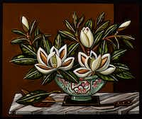 David Bates, <i>Magnolia in a Bowl, 2015</i>, oil on canvas,  60 x 72 inches(Kevin Todora/David Bates/Talley Dunn Gallery)