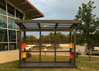 MAP Mobile Pavilion installed at Dallas Public Library, Pleasant Grove Branch. Photograph by Pamela Miller/ Make Art with Purpose<p></p>(<br>)
