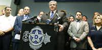 """Ron Pinkston (center), president of the Dallas Police Association, has called Kleinman """"anti-public safety."""" (2015 File Photo/Ron Baselice)"""