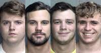 <p>Four men were arrested on drug possession charges after police obtained a search warrant for the Sigma Nu fraternity house. From left: Michael Frymire, 20; Samuel Patterson, 21; Ty Robertson, 21; and Christian Sandford, 18.</p>