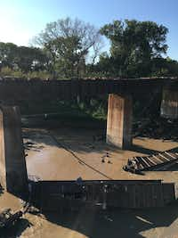 Five Union Pacific train cars fell into Denton Creek on Sunday after a derailment. (Roanoke Police Department)