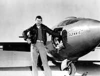 Capt. Charles E. Yeager is shown standing next to the Air Force's Bell-built X-1 supersonic research aircraft, in this photo provided by the U.S. Air Force, after became the first man to fly faster than the speed of sound in level flight on Oct. 14, 1947. (AP)