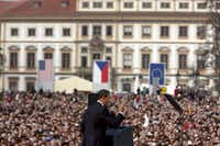 """President Barack Obama speaks at Hradcany Square in Prague, where he he pledged in a landmark speech that he would take steps toward a nuclear-free world and """"reduce the role of nuclear weapons in our national security strategy,"""" April 5, 2009. The Energy Department and the Pentagon have been readying a weapon with a build-it-smaller approach, setting off a philosophical clash in the world of nuclear arms.(<p><span style=""""font-size: 1em; line-height: 1.364; background-color: transparent;"""">Todd Heisler/The New York Times</span><br></p><p></p>)"""