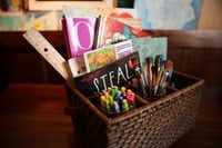 A portable creativity basket inside Jill Allison Bryan's creativity space at her home in Dallas on Aug. 18, 2016. (Rose Baca/The Dallas Morning News)(Staff Photographer)