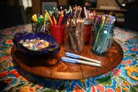 A lazy susan of supplies inside Jill Allison Bryan's creativity space at her home in Dallas on Aug. 18, 2016. (Rose Baca/The Dallas Morning News)(Staff Photographer)