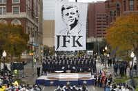 Dallas Mayor Mike Rawlings delivered a speech during the 50th-anniversary commemoration of John F. Kennedy's assassination at Dealey Plaza on Nov. 22, 2013. (Tom Fox/Staff Photographer)