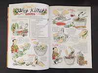 """A page spread from Robin Ha's """"Cook Korean!: A Comic Book with Recipes."""" (Leslie Brenner/Staff)"""