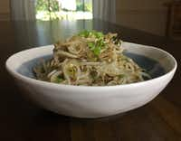 """Korean bean sprout salad from """"Cook Korean!: A Comic Book with Recipes,"""" by Robin Ha. (Leslie Brenner/Staff)"""