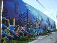 This fantastic sea life mural fills a wall in the hot emerging Warehouse District in St. Pete, considered among the world s top cities for art. (Robin Soslow)