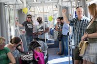 There's room for up to 30 passenger to sit and another 30 or so to stand on the streetcar, which made its debut in the Bishop Arts District on Saturday.((Ting Shen/Staff Photographer))