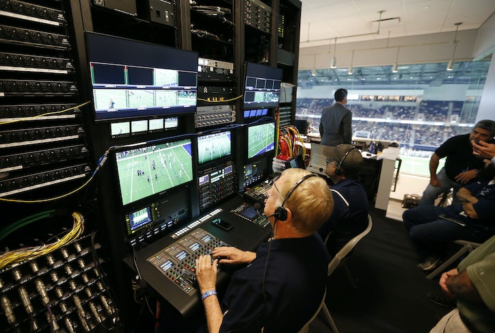 Video control room works during a game between Lone Star High School and  Heritage High School at The Star in Frisco on Saturday d645e6c7f