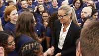 Apple World Trade Center store opened on Aug. 16 2016. Angela Ahrendts, Apple s senior vice president of retail and online stores.(Photo courtesy of Apple)