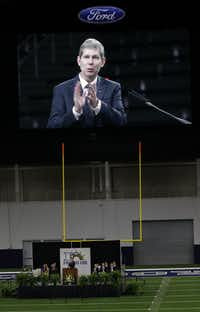 Superintendent Jeremy Lyon addresses Frisco ISD's faculty and staff gathered at the Ford Center at The Star for the district's annual convocation before the start of the school year.(David Woo/Staff Photographer)